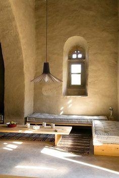 World Of Interiors, Interior Architecture, Interior And Exterior, Interior Design, Casa Wabi, Mud House, Wood Pendant Light, Tadelakt, Natural Interior