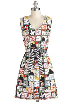 Draw Them In Dress - Multi, Belted, Casual, A-line, Sleeveless, Exclusives, Cotton, Mid-length, Pockets, V Neck, Statement, Tis the Season Sale