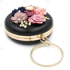 Round Shaped Flowers Evening Bag ($25) ❤ liked on Polyvore featuring bags, handbags, evening handbags, evening bags, evening hand bags, flower handbags and white bag