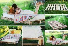 cama suspensa de paletts faça você mesmo decoração