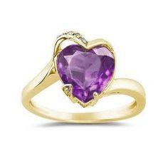 Anel Coração em Ametista e Diamantes - Jóias Silvanil - R$1994 - 5 diamantes 1pt cada - 1 gema em forma de coração: Ametista/Citrino/Rubi/Topázio/Zircone/Ônix. 5,5g ouro 18k.