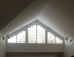Luxaflex Polyresin shutters are now available in special shapes. Picture taken at customers home in Drummoyne Sydney Australia