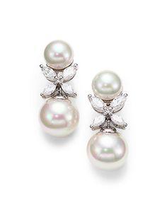 Majorica - 12MM White Pearl Drop Earrings - Saks.com