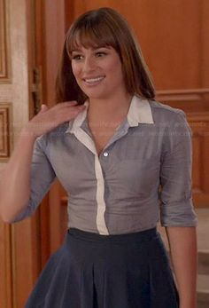 Rachel s blue button down shirt with white collar and navy pleated skirt on  Glee Friends Rachel 51480e234