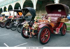 Veteran cars lined up at Medeira Drive, Brighton at the finish of the 2011 annual London to Brighton Veteran Car - Stock Image