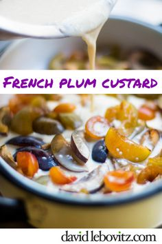 Plum Flaugnarde (Plum Custard) via Custard Recipes, Apple Pie Recipes, Cupcake Recipes, Dessert Recipes, French Desserts, French Food, Sweet Desserts, Breakfast Pastries, Sweet Pastries