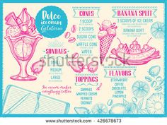 Ice cream menu placemat food restaurant brochure, dessert template design. Vintage creative sweet template with hand-drawn graphic. Vector food menu flyer. Gourmet menu board.
