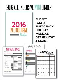 Yearly organization printables | Mini All Inclusive 2016 Binder will help you stay organized and fit in your purse! |  www.thirtyhandmadedays.com