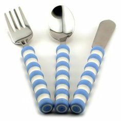 """Pencil Grip Gripable Comfortable Cutlery, Fork, Knife, Spoon with Gripable Handles, Blue and White Handles, TPG-640B by Pencil Grip. $8.70. Brightly colored handles says """"this is for me"""". Dishwasher safe. Makes it easy to teach eating with utensils. Awesome tool for special needs kids. Easy to grip handles. From the Manufacturer Using utensils is fun and easy with Gripables, Comfortable Cutlery. Each set includes a fork, knife and spoon with an easy to grip..."""