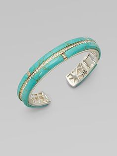 Kara Ross: White Sapphire Accented Turquoise Section Cuff Bracelet