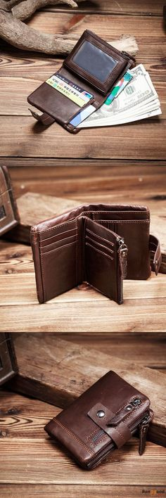 US$24.99 + Free shipping. Men Wallet, Genuine Leather Wallet, Tri-fold Wallet, Vintage Wallet, Old Fashioned Wallet, Card Slots, Card Holder, Coin Bag. Color: Coffee, Black. Soft & Well-Designed.