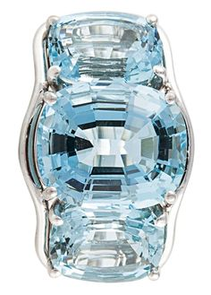 Verdura Aquamarine Three Stone Ring