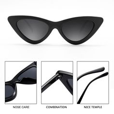 15d11350155e6 Cat Eye Sunglasses for Women Black Narrow Frame Flat Tinted Lens Retro  Shades UV Protection