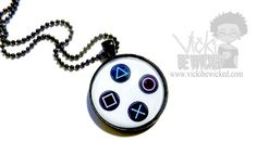 Cool PlayStation Buttons themed Cameo Necklace