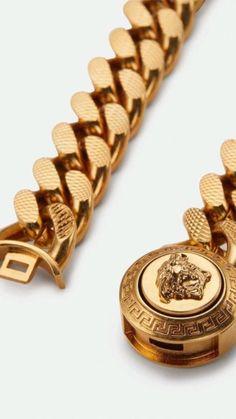 Mens Gold Bracelets, Mens Gold Jewelry, Mens Gold Rings, Jewelry For Men, Versace Jewelry, Versace Chain, Men's Jewelry Rings, Jewellery, Gold Chain Design
