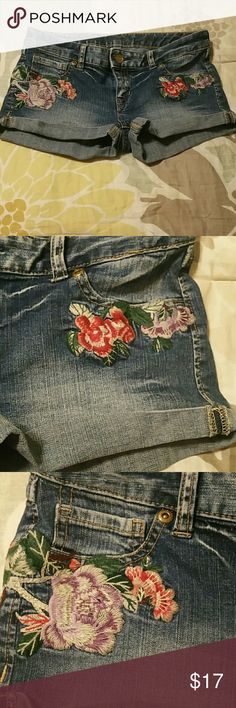 Express Express shorts...cute embroidered flowers on the side and back...cuffed bottom size 2 has some stretch. Express Shorts Jean Shorts