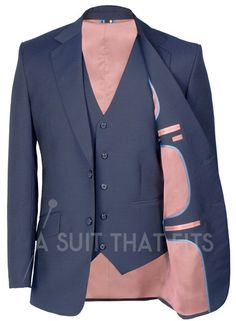 Navy Première Three Piece Suit with a tan lining.