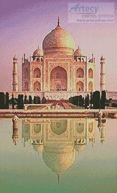 Artecy Cross Stitch. Cat Taj Mahal Reflection Cross Stitch Pattern to print online.