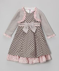 Take a look at this Gray & Pink Polka Dot Bow Dress & Shrug - Infant, Toddler & Girls by Donita on #zulily today!