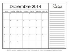 Calendarios imprimibles del 2014 con espacio para notas: Diciembre 2014