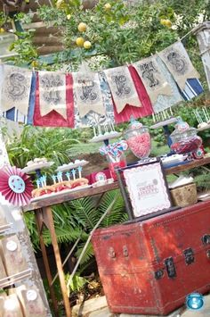 wall paper table and vintage bits dessert table- fab...