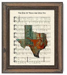 Texas Longhorns Art Print, UT Austin Fight Song, The Eyes Of Texas Are Upon You Song Lyric Sheet Music Art Print by WordsandMusicArt on Etsy https://www.etsy.com/listing/164765516/texas-longhorns-art-print-ut-austin