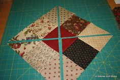 9 Patch Scramble. Cut 9-patch on diagonal both ways. Scramble the pieces and sew back together.