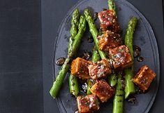 Gebratener Tofu mit Spargel und Sesam Grill Pan, Dinner Tonight, Tofu, Asparagus, Green Beans, Grilling, Low Carb, Vegetables, Roast