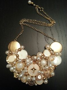 Gold and Pearls Mixed Media Necklace by JD Couture Jewelry