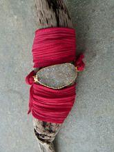 Druzy Silk Wrap Bracelet Red
