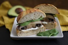 Cayenne Portabella Burgers with Herbed Goat Cheese Spread