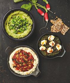 Yotam Ottolenghi's top dips: avocado and broad bean; spinach with strained yoghurt and chilli butter; butterbean hummus with red pepper and walnut paste.