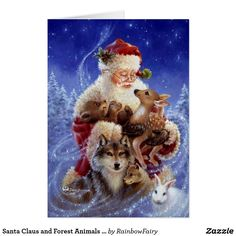 Santa Claus and Forest Animals Christmas Card