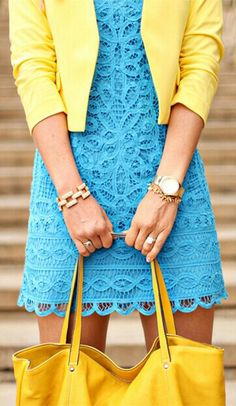 Try mixing blue and yellow for a bold, yet feminine, look. - love! #freelancingwardrobe