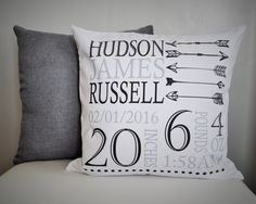 Personalized birth pillow cover, birth Announcement pillow cover, birth pillow cover, aztec nursery, arrow nursery, CUSTOMIZE, 18x18 by ourTraditions on Etsy https://www.etsy.com/listing/271081946/personalized-birth-pillow-cover-birth