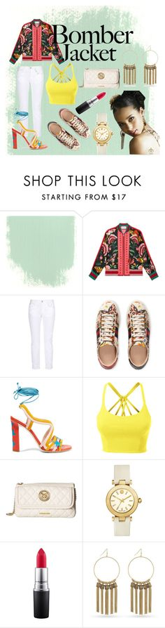 """bomb, bomber, bombest"" by evazingerm ❤ liked on Polyvore featuring Gucci, STELLA McCARTNEY, Paula Cademartori, LE3NO, Love Moschino, Tory Burch, MAC Cosmetics, BCBGeneration and bomberjackets"