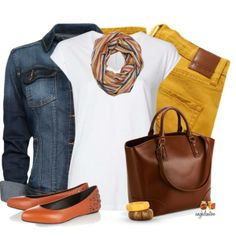 Nobody Women's Cult Crop Jeans - Honey + Witchery Back Yoke V-Neck Tee + MANGO Worn effect denim jacket + ICHI Tube Scarf Lalp + Layla Spot Lined Tote Bag Brown + McQ Alexander McQueen Studded leather flats + Kenneth Jay Lane Madeira Citrine Clip Earrings Yellow Pants Outfit, Yellow Jeans, Casual Fall Outfits, Fall Winter Outfits, Autumn Winter Fashion, Summer Outfits, Mode Outfits, Fashion Outfits, Womens Fashion