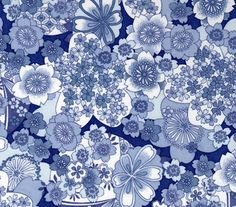Classic japanese flower icons in beautiful blue and white. Some design never date.