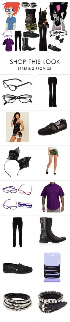 """""""Chuckie/Shenzi DAHH Ch. 16"""" by brainyxbat ❤ liked on Polyvore featuring Elizabeth and James, M.i.h Jeans, Free People, TOMS, AMIRI, 21 Men and claire's"""