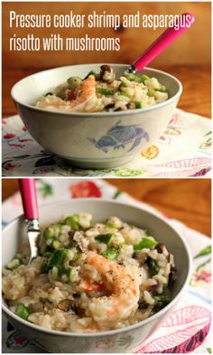 Shrimp and asparagus risotto with mushrooms (quick and easy in the pressure cooker). #risotto #shrimp #pressurecooker