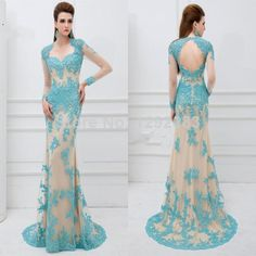 Cheap lace informal wedding dress, Buy Quality lace watch directly from China lace badge Suppliers: Pretty Sweetheart Lace with Crystals Champagne and Teal Open Back Prom Dresses Long Sleeves See Through Models Show