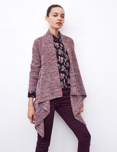 Draped buttonless cardigan. The whole set looks lovely, too.