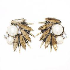 Marca design de moda cinza cristal pérolas beads brincos vintage pendientes para mulheres brincos brincos atacado bijoux 2015 em Brinco de brilhante de Jóias no AliExpress.com | Alibaba Group