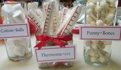 Marshmallow cotton balls, dipped pretzel rod thermometers and marshmallow and pretzel stick funny bones
