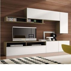EXCLU Atylia.com - #Meuble mural #TV #Design Spizzy - Bois Blanc Laqué Mat Best Interior, Room Interior, New Living Room, Living Room Decor, Tv Feature Wall, Modern Tv Units, King Furniture, Tv Unit Design, Decor Interior Design