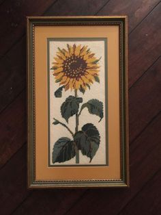 Vtg Sunflower Finished Cross Stitch HAND CARVED Wood Frame Matted Large Flower