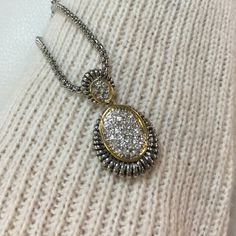 Anastasia Drop Necklace Antique silver tone with brilliant round cubic zirconia gemstones set in a beautiful drop. Ocean Jewelers Jewelry Necklaces