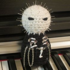 Crochet Pinhead (literally one of my favorite horror film characters ever! Crochet Cross, Cute Crochet, Crochet Dolls, Yarn Crafts, Sewing Crafts, Amigurumi Patterns, Knitting Patterns, Horror Crafts, Halloween Crochet Patterns