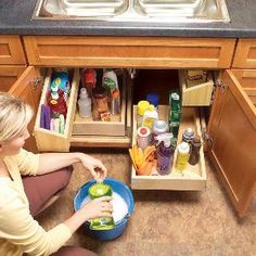 Install rollout shelves: Lower cabinets offer the biggest storage spaces in your kitchen. But the back half of cabinets is usually wasted—it's filled with forgotten stuff or left empty because it's out of sight and out of reach. Rollout shelves reclaim that space.