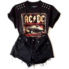 ACDC Studded Tee (76 BRL) ❤ liked on Polyvore featuring tops, t-shirts, outfits, shirts, shorts, cut-out crop tops, crop shirt, crop top, studded tee and studded t shirt